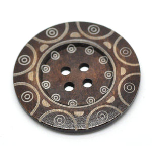 "Extra large button - 3 wooden button 60mm (2 3/8"") - tribal pattern"