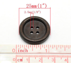 Dark coffee brown Wooden Sewing Buttons 25mm - set of 6 natural wood button