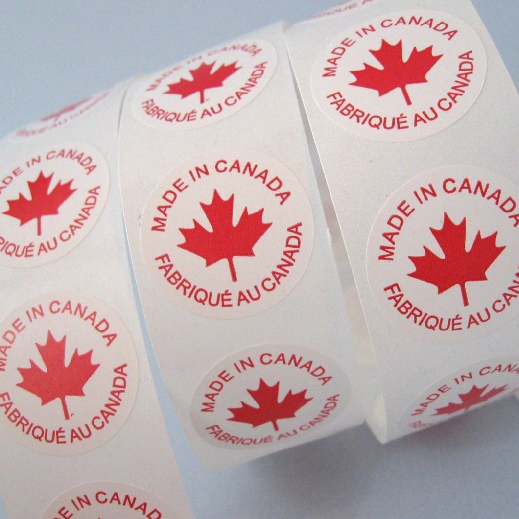 50 Made In Canada Labels - round sticker tags 1