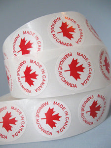 50 Made In Canada Labels - round sticker tags 1""