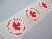 Load image into Gallery viewer, 50 Made In Canada Labels - round sticker tags 1""