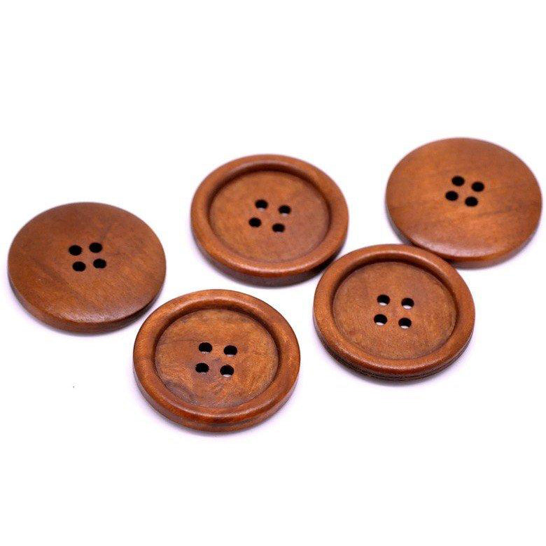 Reddish Brown button - 4 wooden buttons 35mm (1 3/8