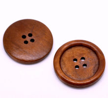 "Load image into Gallery viewer, Reddish Brown button - 4 wooden buttons 35mm (1 3/8"")"