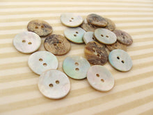 Load image into Gallery viewer, Mother of Pearl Shell Buttons 15mm - set of 12 eco friendly natural buttons