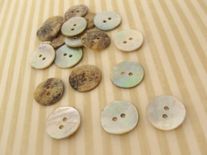 Mother of Pearl Shell Buttons 15mm - set of 12 eco friendly natural buttons