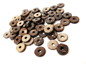 50 Wood CocoNut Shell Beads - Eco Friendly Donuts Rondelle Disk Beads 12mm