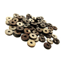 Load image into Gallery viewer, 50 Wood CocoNut Shell Beads - Eco Friendly Donuts Rondelle Disk Beads 12mm