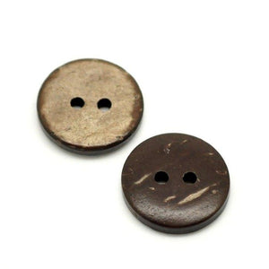 12 Brown Coconut Shell Buttons 15mm - Natural and Eco Friendly )