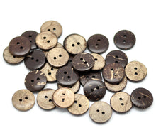 Load image into Gallery viewer, 12 Brown Coconut Shell Buttons 15mm - Natural and Eco Friendly )