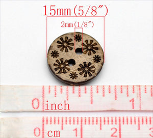 10 Brown Coconut Shell Buttons 15mm -  Primitive Flowers
