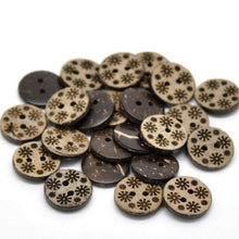 Load image into Gallery viewer, 10 Brown Coconut Shell Buttons 15mm -  Primitive Flowers
