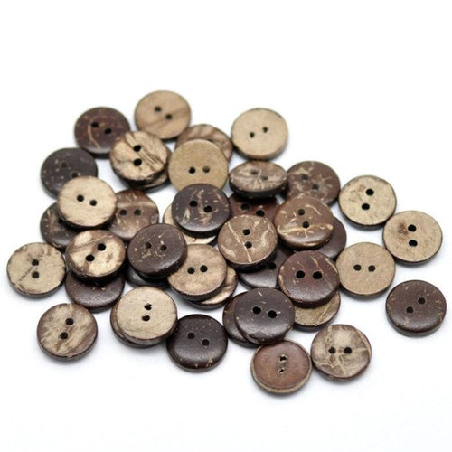 12 Brown Coconut Small Buttons 10mm - Natural Wood and Eco Friendly