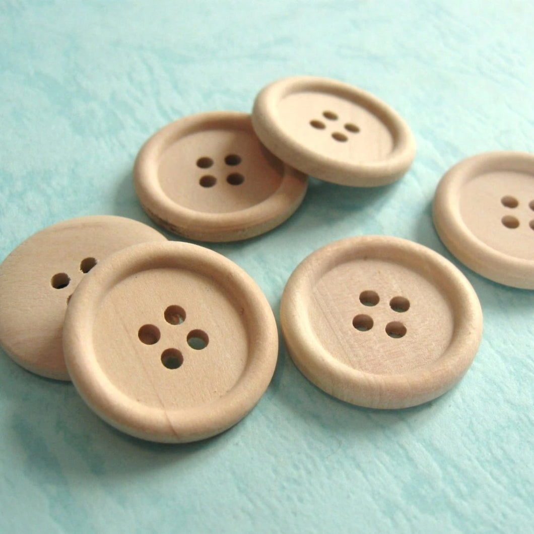 Natural unfinished wood button set of 6 large button 25mm