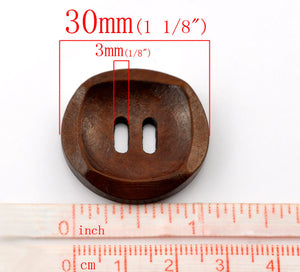 Dark Brown Wooden Sewing Buttons 30mm - set of 6 natural wood button