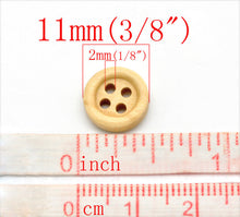 Load image into Gallery viewer, Mini Wood button - Natural 4 Holes Wooden Sewing Buttons 11mm - set of 36