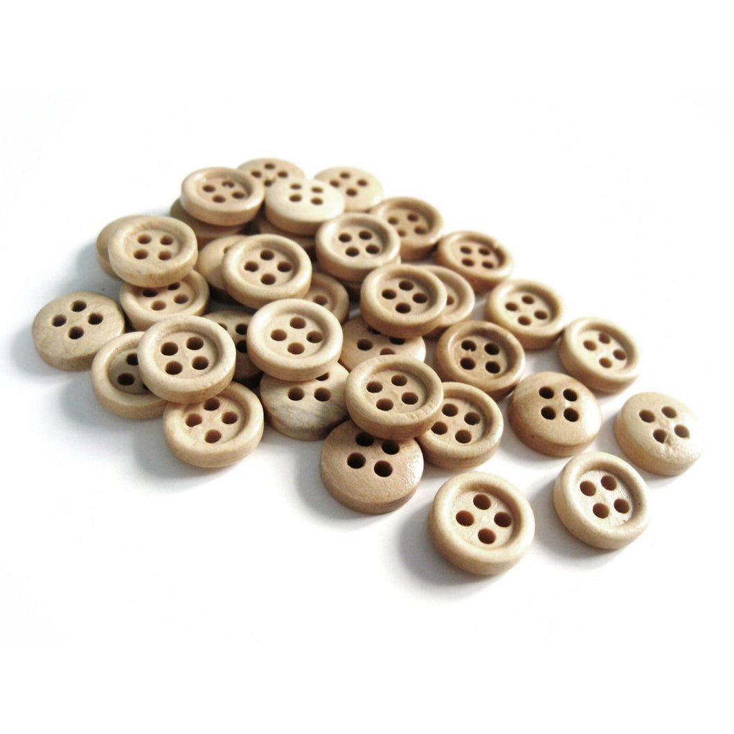 Mini Wood button - Natural 4 Holes Wooden Sewing Buttons 10mm - set of 36