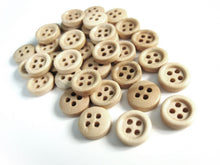 Load image into Gallery viewer, Mini Wood button - Natural 4 Holes Wooden Sewing Buttons 10mm - set of 36