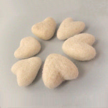 Load image into Gallery viewer, Felt Ivory Heart - 6 Pure Wool Beads 30mm -