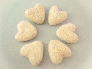 Felt Ivory Heart - 6 Pure Wool Beads 30mm -