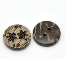 Load image into Gallery viewer, 10 Brown Coconut Shell Buttons 15mm -  Wildflowers
