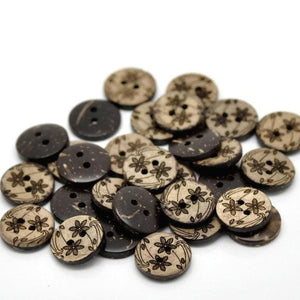 10 Brown Coconut Shell Buttons 15mm -  Wildflowers