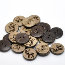 Load image into Gallery viewer, 10 Brown Coconut Shell Buttons 18mm -  Rustic Elk