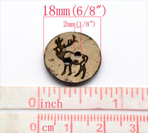 10 Brown Coconut Shell Buttons 18mm -  Rustic Elk