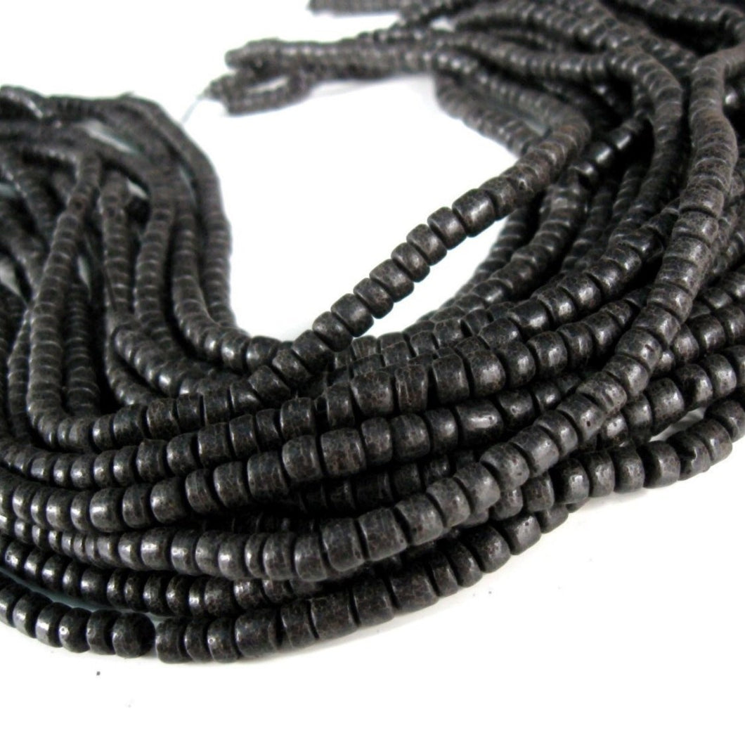 110 Black wood Beads - Coconut Rondelle Disk Beads 5mm