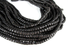 Load image into Gallery viewer, 110 Black wood Beads - Coconut Rondelle Disk Beads 5mm