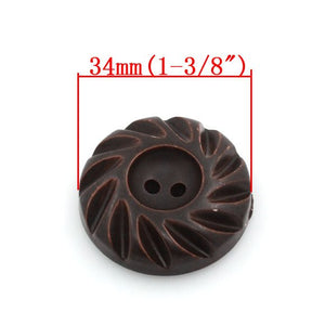 Dark Chocolate Wooden Sewing Buttons 35mm - set of 4 natural wood button