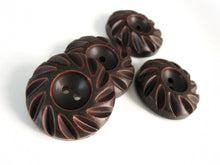 Load image into Gallery viewer, Dark Chocolate Wooden Sewing Buttons 35mm - set of 4 natural wood button