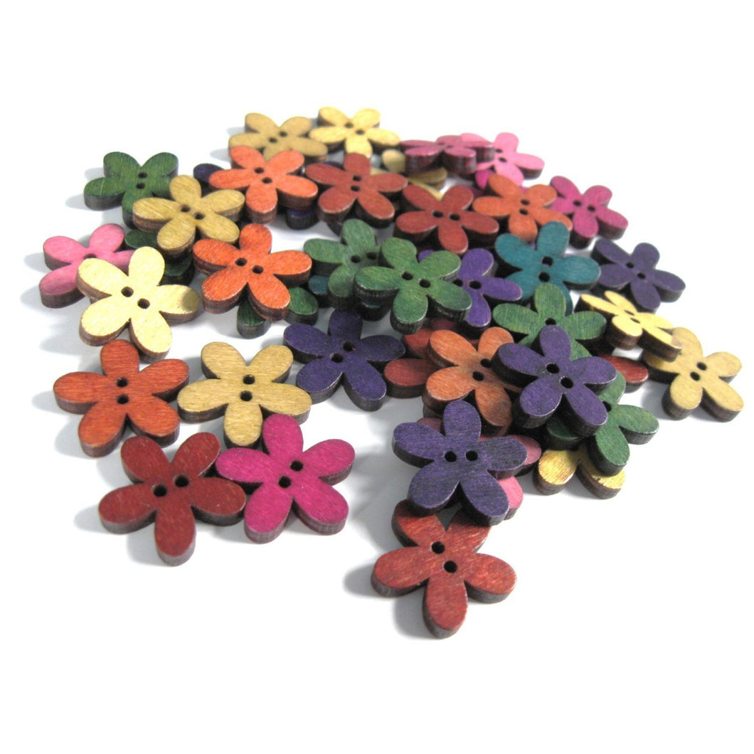 25 Mixed Colors Buttons - Wood sewing buttons 20mm - Flowers shapes