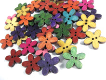 Load image into Gallery viewer, 25 Mixed Colors Buttons - Wood sewing buttons 20mm - Flowers shapes