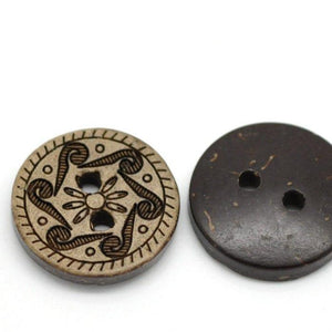 10 Brown Coconut Shell Buttons 15mm -  Rosette