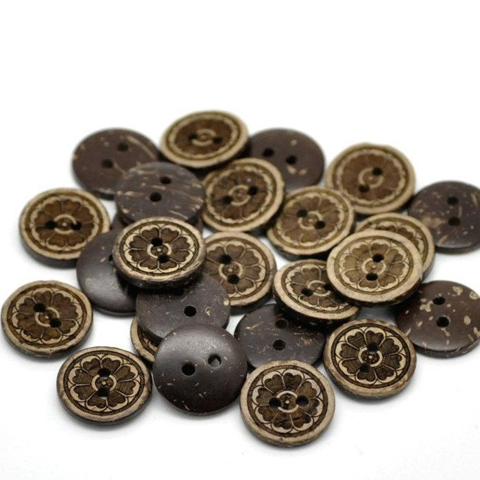 10 Brown Coconut Shell Buttons 15mm -  Flowers