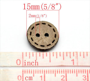 10 Brown Coconut Shell Buttons 15mm - HandStitch Pattern