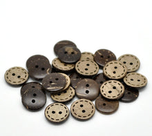 Load image into Gallery viewer, 10 Brown Coconut Shell Buttons 15mm - HandStitch Pattern