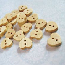 Load image into Gallery viewer, Wooden Heart Shape Button 12mm Mini Unfinished wooden button