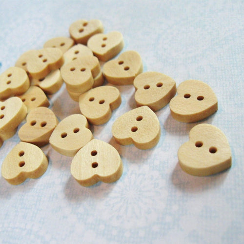 Wooden Heart Shape Button 12mm Mini Unfinished wooden button