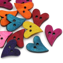 Load image into Gallery viewer, Wood sewing buttons 20mm - Hearts shapes 25 Mixed Colors Buttons