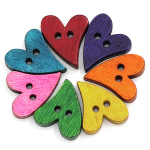 Wood sewing buttons 20mm - Hearts shapes 25 Mixed Colors Buttons