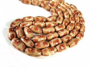 20 Oval Wood beads - Brown tribal pattern Wooden rice Beads 15x8mm