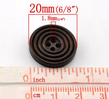 Load image into Gallery viewer, Coffee brown Wooden Sewing Buttons 20mm - set of 8 natural circle wood button