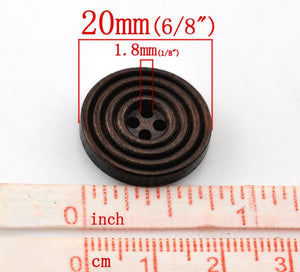 Coffee brown Wooden Sewing Buttons 20mm - set of 8 natural circle wood button