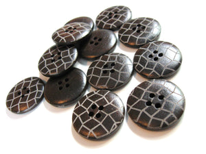 Dark brown Wooden Sewing Buttons 25mm - set of 6 natural wood button - Lattice