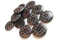 Load image into Gallery viewer, Dark brown Wooden Sewing Buttons 25mm - set of 6 natural wood button - Lattice