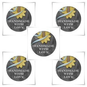 Handmade with love tags - One and half inch round tags images - Digital Collage Sheet