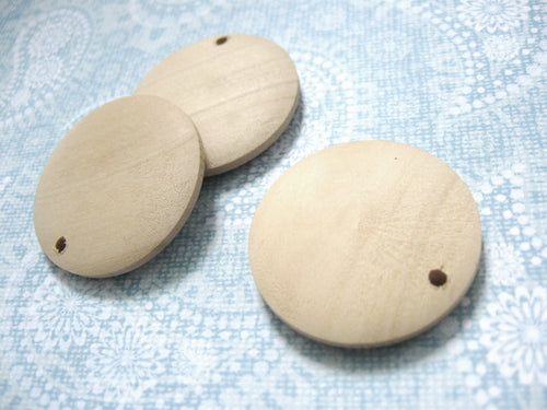 3 Round wood pendant, unfinished, focal beads, natural 3cm Dia. (1 1/8