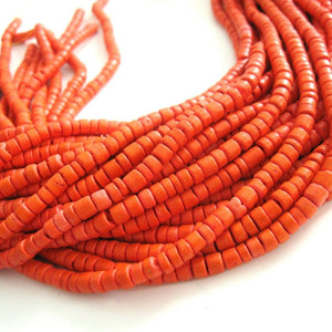 120 Orange wood Beads - Coconut Rondelle Disk Beads 4-5mm