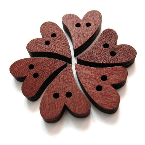 6 Heart Wooden Buttons - craft buttons 20mm